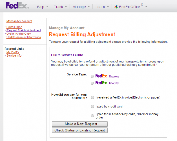 Billing Adjustment Online