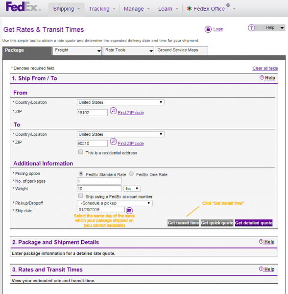 FedEx Time in Transit Calculator