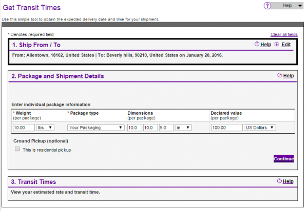 FedEx Time in Transit Dims